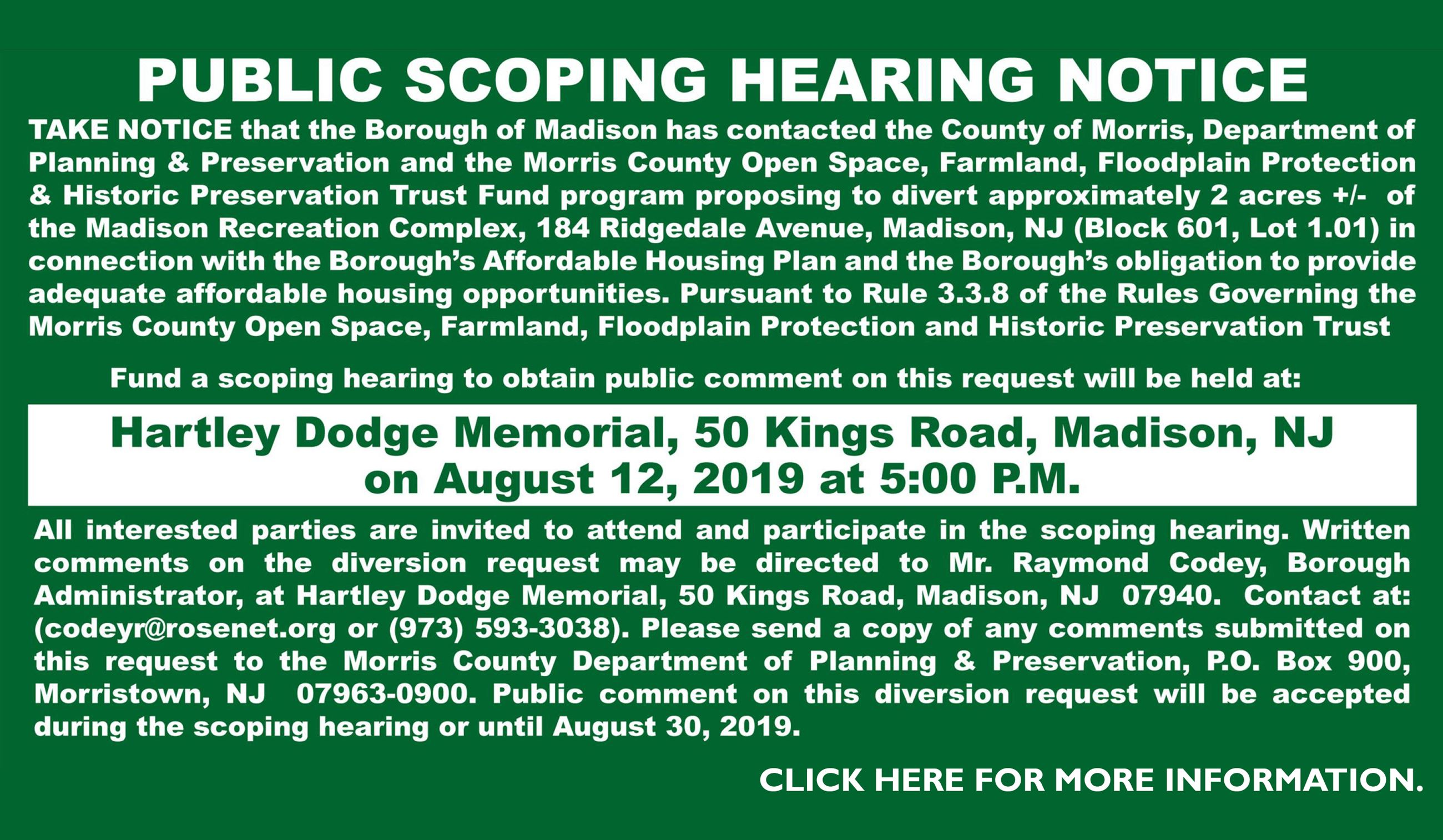 Public Scoping Hearing Notice