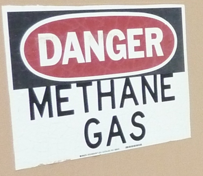 Danger Methane Gas sign