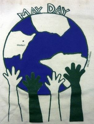 Drawing of hands holding up May Day world