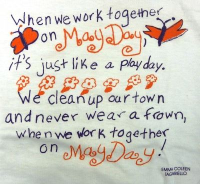 May Day poster with poem and butterflies